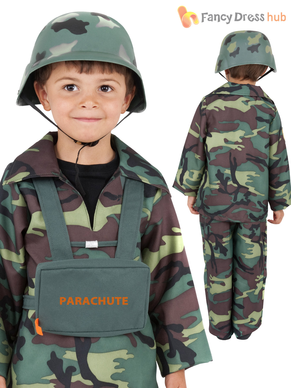 Kids World War 2 Army Sol R Combat Uniform Costume Fancy