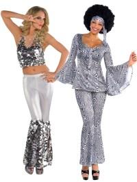 Ladies 1970s Sequinned Disco Dancing Top + Flares Fancy ...