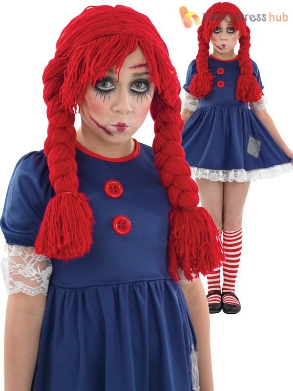 Age 4-12 Girls Dead Broken Rag Doll Costume Halloween