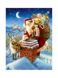 Light Up Christmas Canvas Scene LED Fibre Optic Picture ...