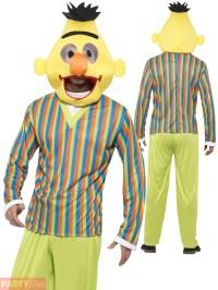 Adults Bert Ernie Costume Mens Sesame Street Fancy Dress ...