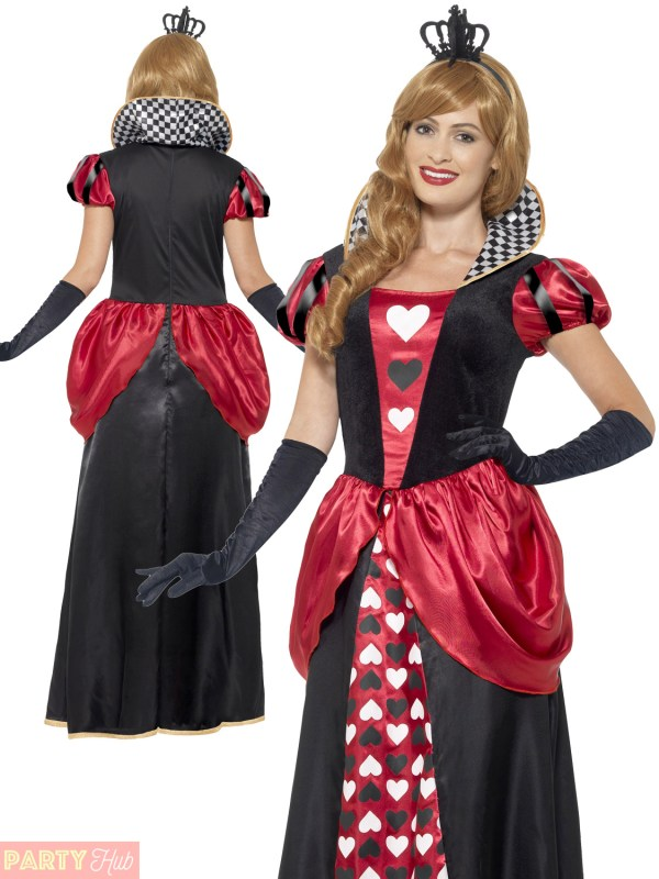 Ladies Queen Of Hearts Costume Adult Fancy Dress Outfit
