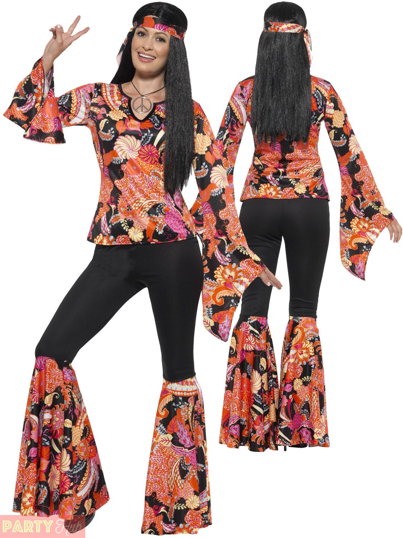 Ladies Hippie Hippy Flares + Top Costume Adult 60s 70s