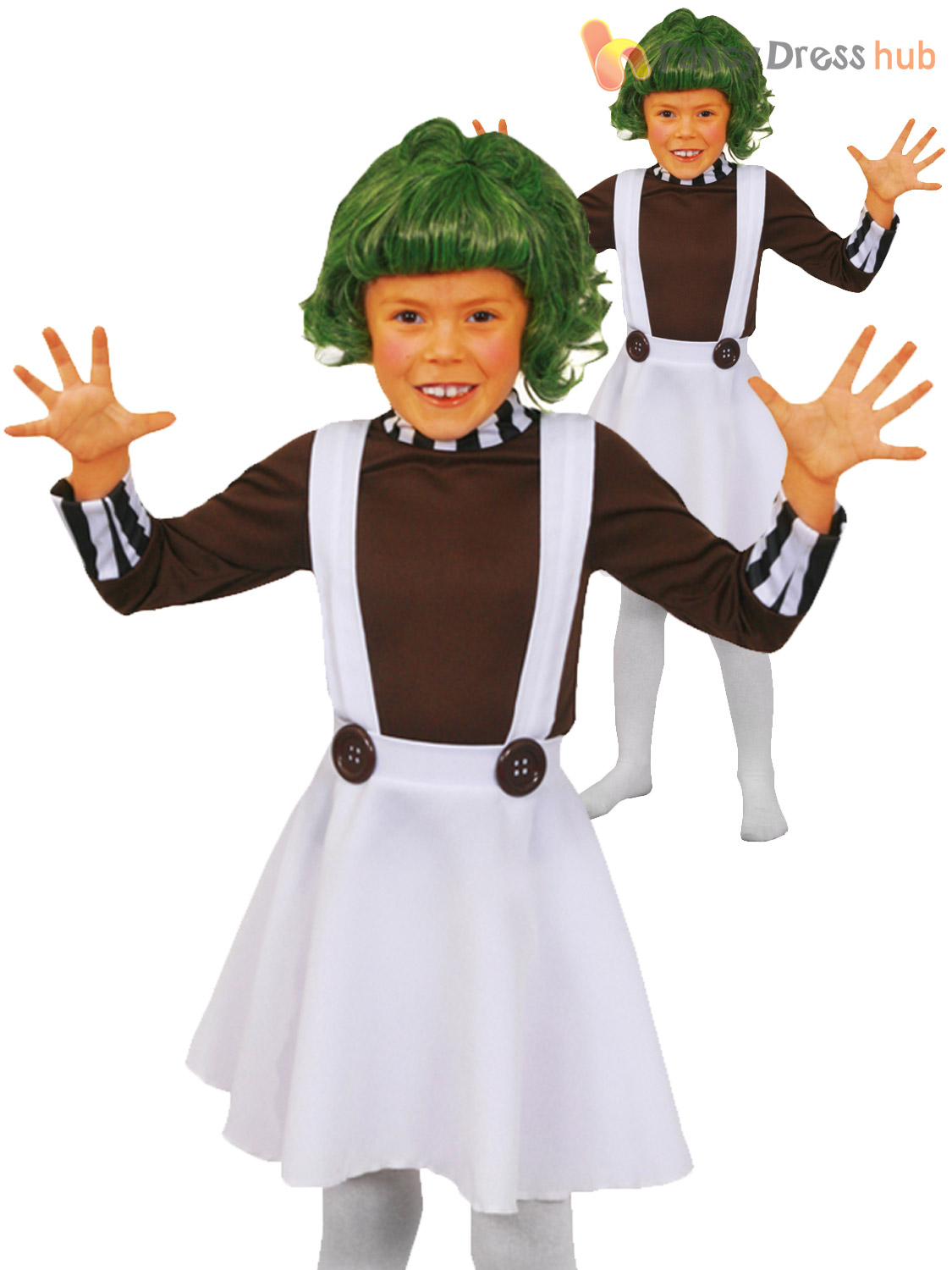 Childrens Oompa Loompa Costume Boys Girls Charlie Chocolate  sc 1 st  Poemsrom.co & oompa loompa costume diy | Poemsrom.co
