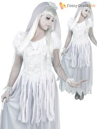 Ghost Zombie Bride and Groom Halloween Costume Ladies Mens ...
