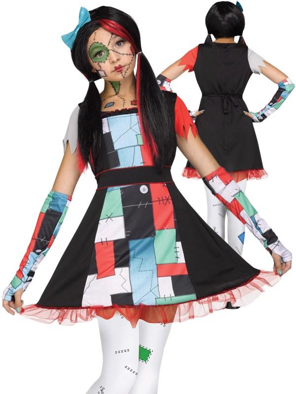 Age 8-16 Girls Broken Rag Doll Costume Halloween Fancy