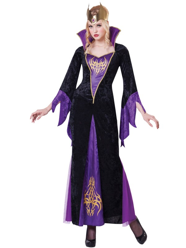 Ladies Evil Queen Costume Adults Sorceress Witch Halloween
