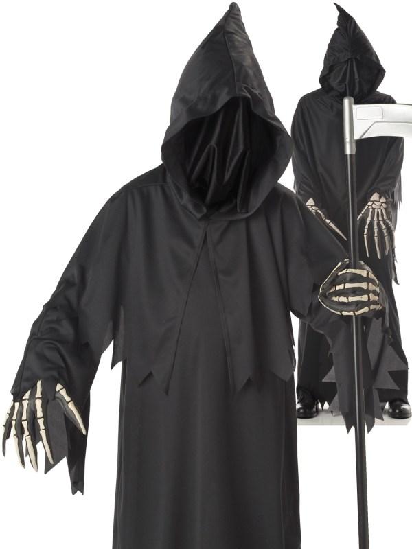 Childs Deluxe Grim Reaper Costume Boys Halloween Ghoul