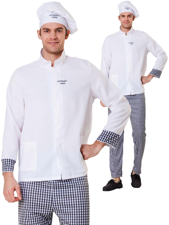 Mens Master Chef Costume Adults Gourmet Uniform Fancy