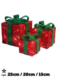 Light Up Gift Boxes Presents Set of 3 Christmas Glitter ...