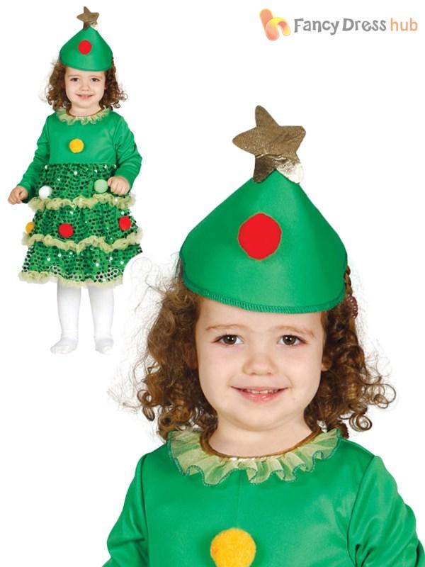 Girls Christmas Tree Costume Childs Toddler Xmas Fancy