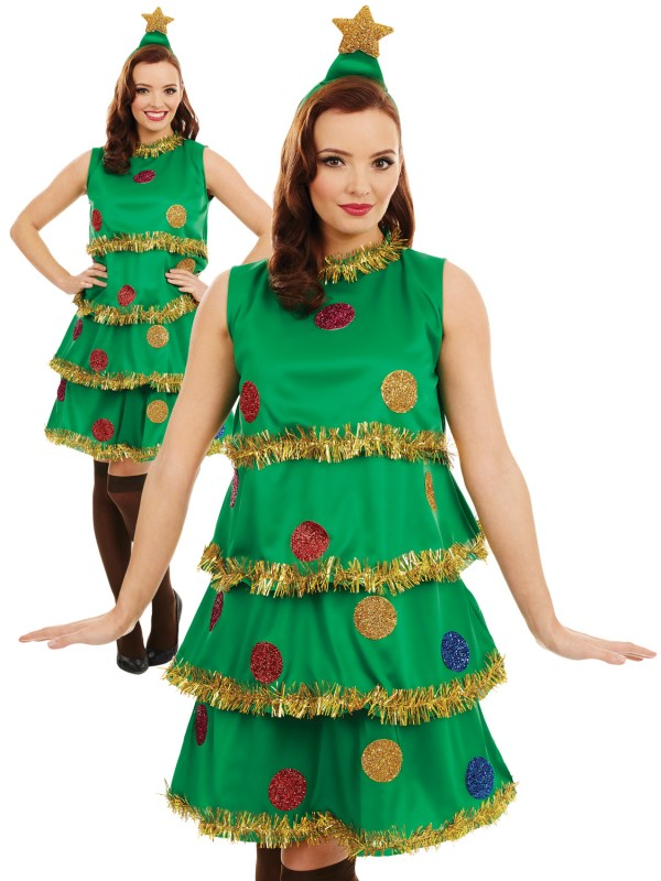 Ladies Christmas Tree Lady Costume Adult Fun Xmas Party