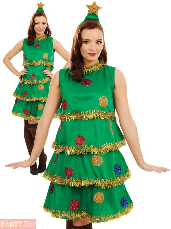 Ladies Christmas Tree Costume Adults Novelty Xmas Fancy