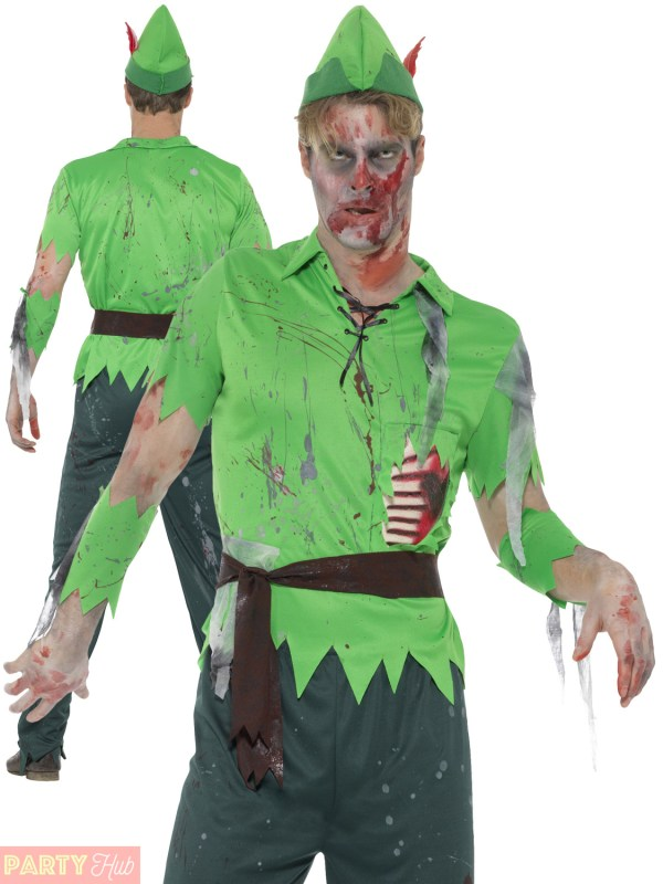 Adults Peter Pan Zombie Costume Mens Ladies Fairy Pirate