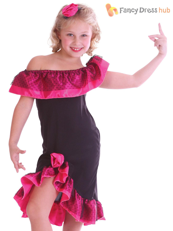 Girls Flamenco Costume Childs Spanish Dancer Fancy Dress