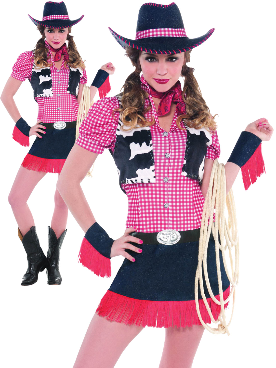 La S Rawhide Cowgirl Costume Adults Women Wild West