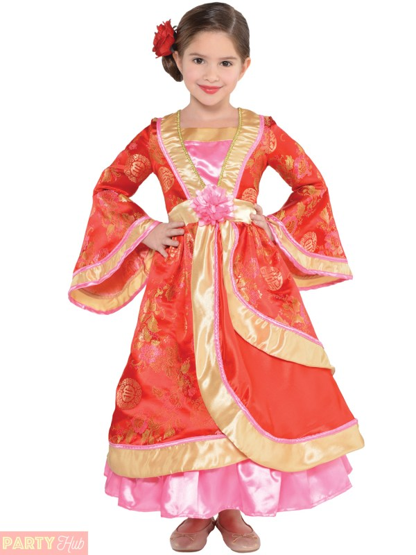 Childs Girls Oriental Princess Costume Chinese Japanese