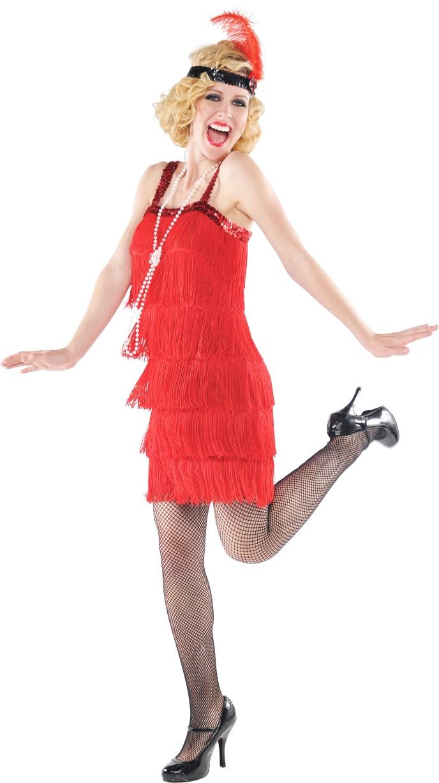 1920s Red Flapper Dress Ladies Fancy Dress Gatsby 20s ...