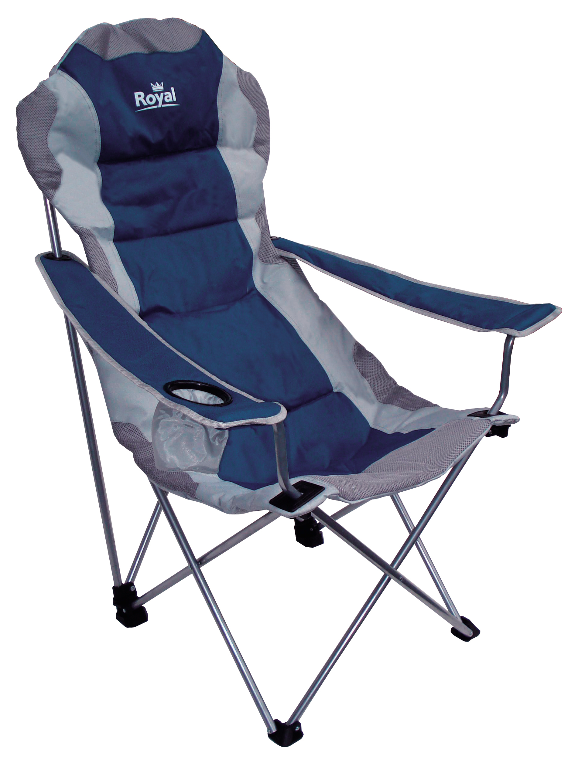 Blue Folding Chairs Royal Adjustable Folding Chair 120kg Capacity 3 Position
