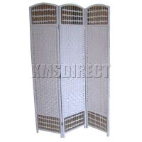 New 3 Panel White Hand Made Wicker Privacy Screen ...