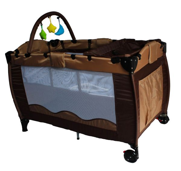 Portable Child Baby Travel Bed Bassinet Playpen Play Pen Brown With Toys