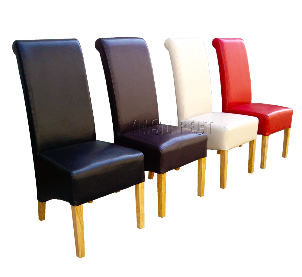 Faux Leather Dining Chairs Roll Top Scroll High Back Solid
