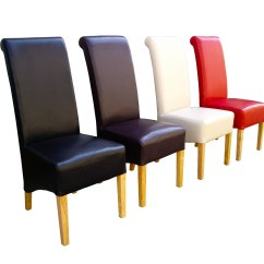 Quality Leather Dining Chairs Postura Max Chair Premium Faux Roll Top Scroll