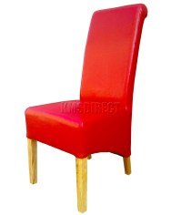 Red Faux Leather Dining Chairs Roll Top Scroll High Back