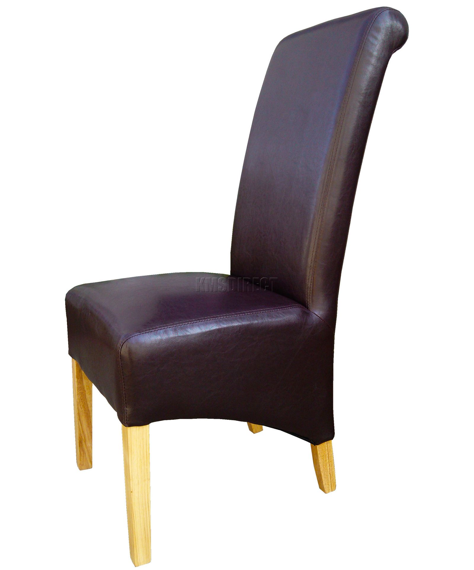 brown leather high back dining chairs ergonomic kneeling new premium faux roll top