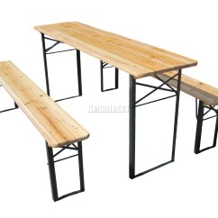 Pub Table With Chairs And Bench Chair Legs Wood Wooden Folding Beer Set Trestle Party