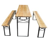 Wooden Folding Beer Table Bench Set Trestle Party Pub ...