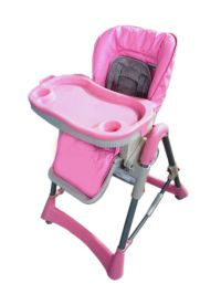 Foldable Pink Baby High Chair Recline Highchair Height