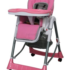 Baby High Chairs With Wheels Office Chair Ebay Foldable Pink Recline Highchair Height