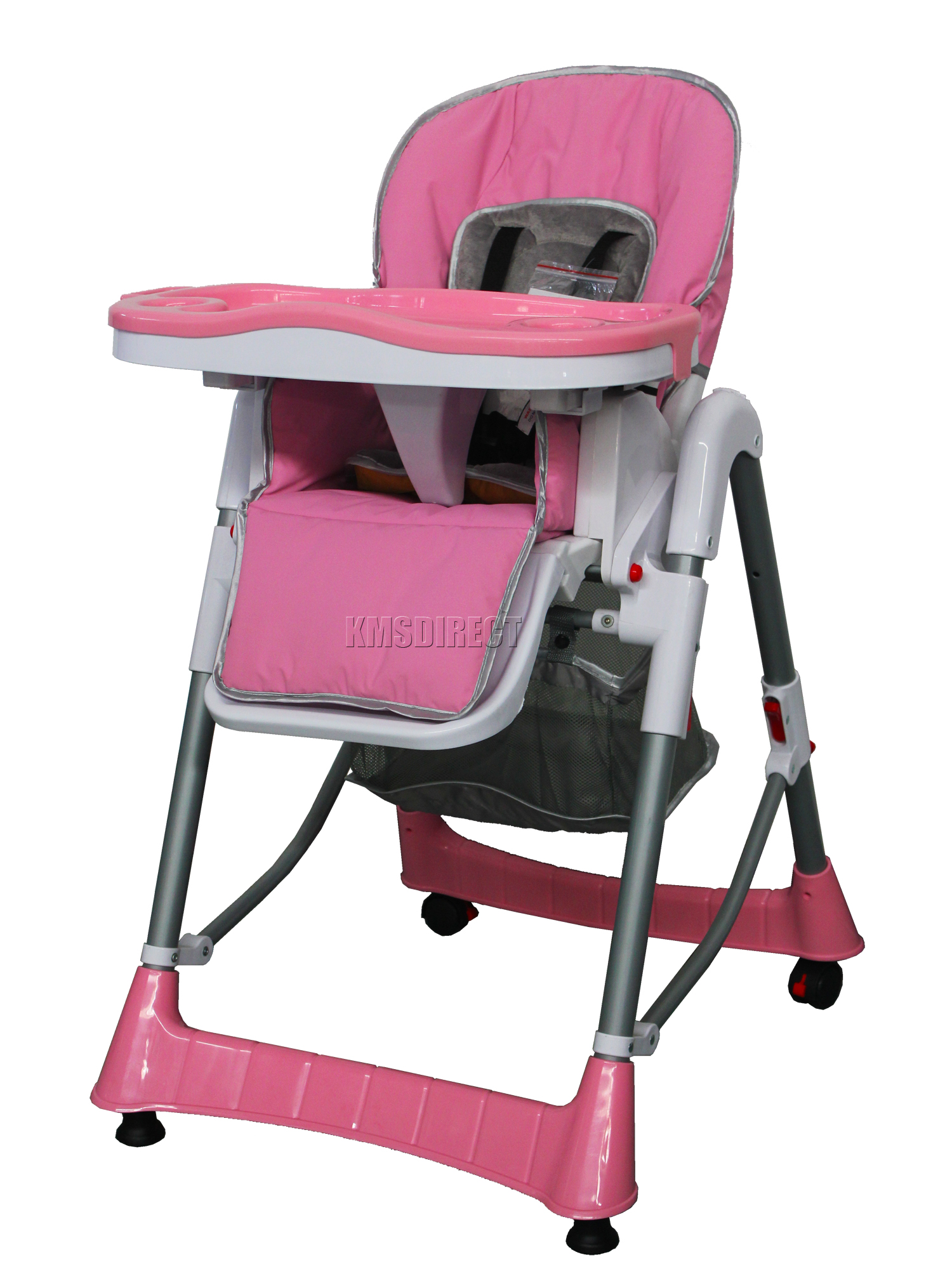 Adjustable High Chair Foldable Pink Baby High Chair Recline Highchair Height