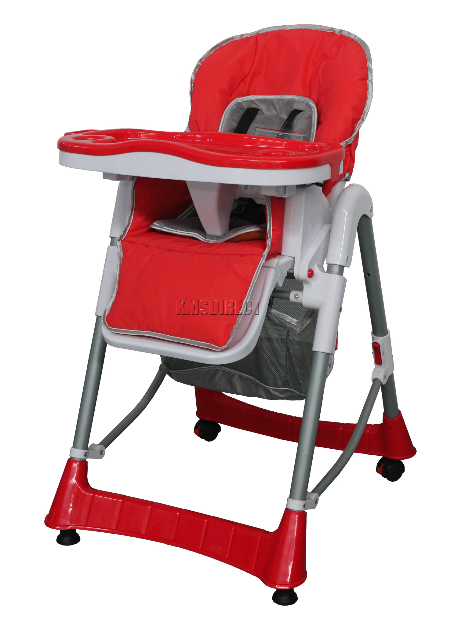 Red High Chair Foldable Red Baby High Chair Recline Highchair Height