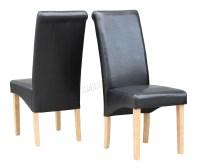 New Black Faux Leather Dining Chairs Roll Top Scroll High ...