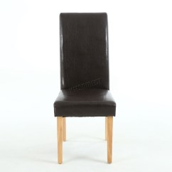 Brown Leather High Back Dining Chairs Office Chair Without Arms Premium Faux Roll Top Scroll