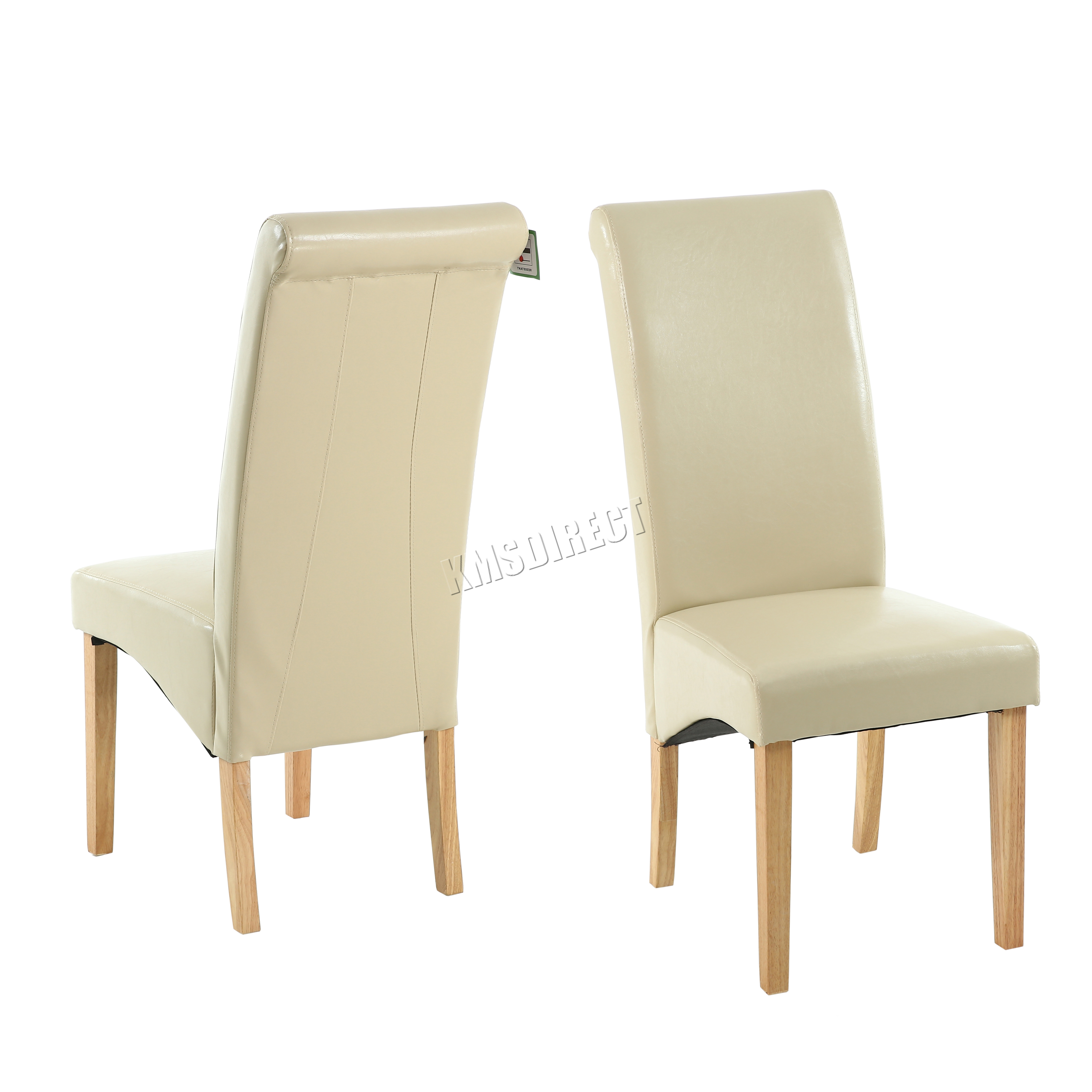 faux leather dining chairs upholstery fabric for room new cream roll top scroll high