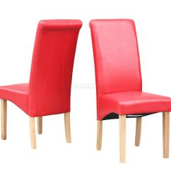 Red High Back Chair Swingasan For Sale New Faux Leather Dining Chairs Roll Top Scroll