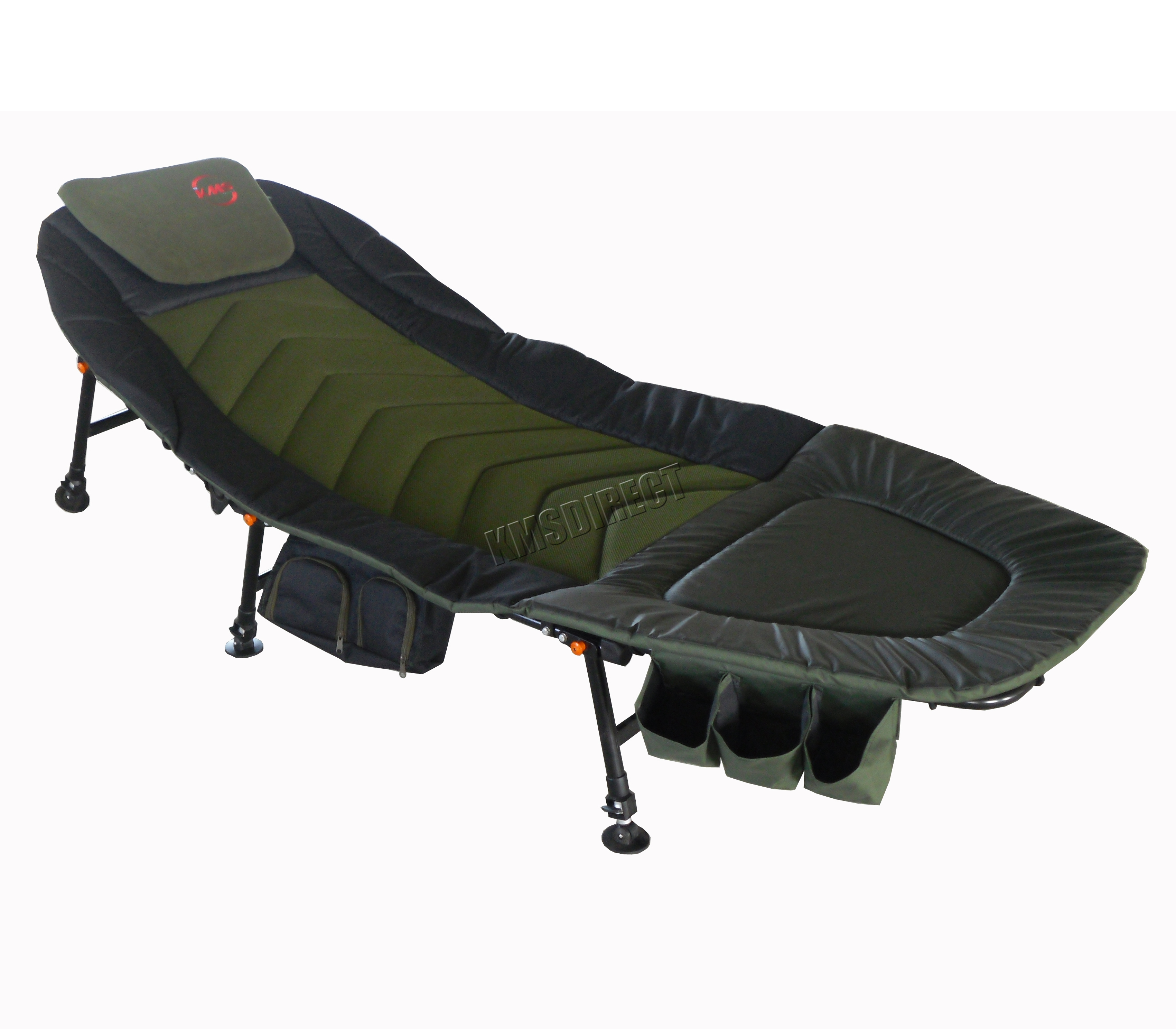 camping sofa uk italian design fishing bed chair bedchair 6 adjustable legs tool
