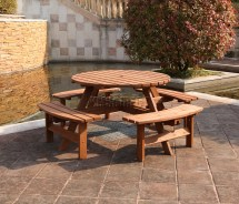 Westwood 8 Seater Wooden Pub Bench Picnic Table