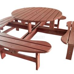 Pub Table With Chairs And Bench Chair Covers Hawaii New 8 Seater Wooden Round Picnic Furniture