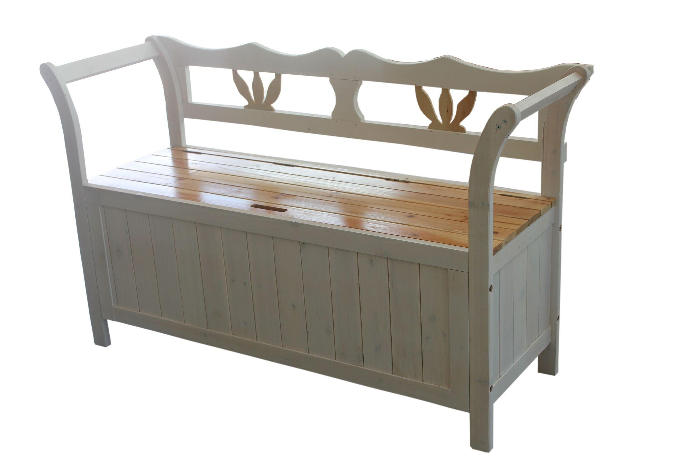 White Wooden Seat Bench Chair Cabinet Storage Home Garden