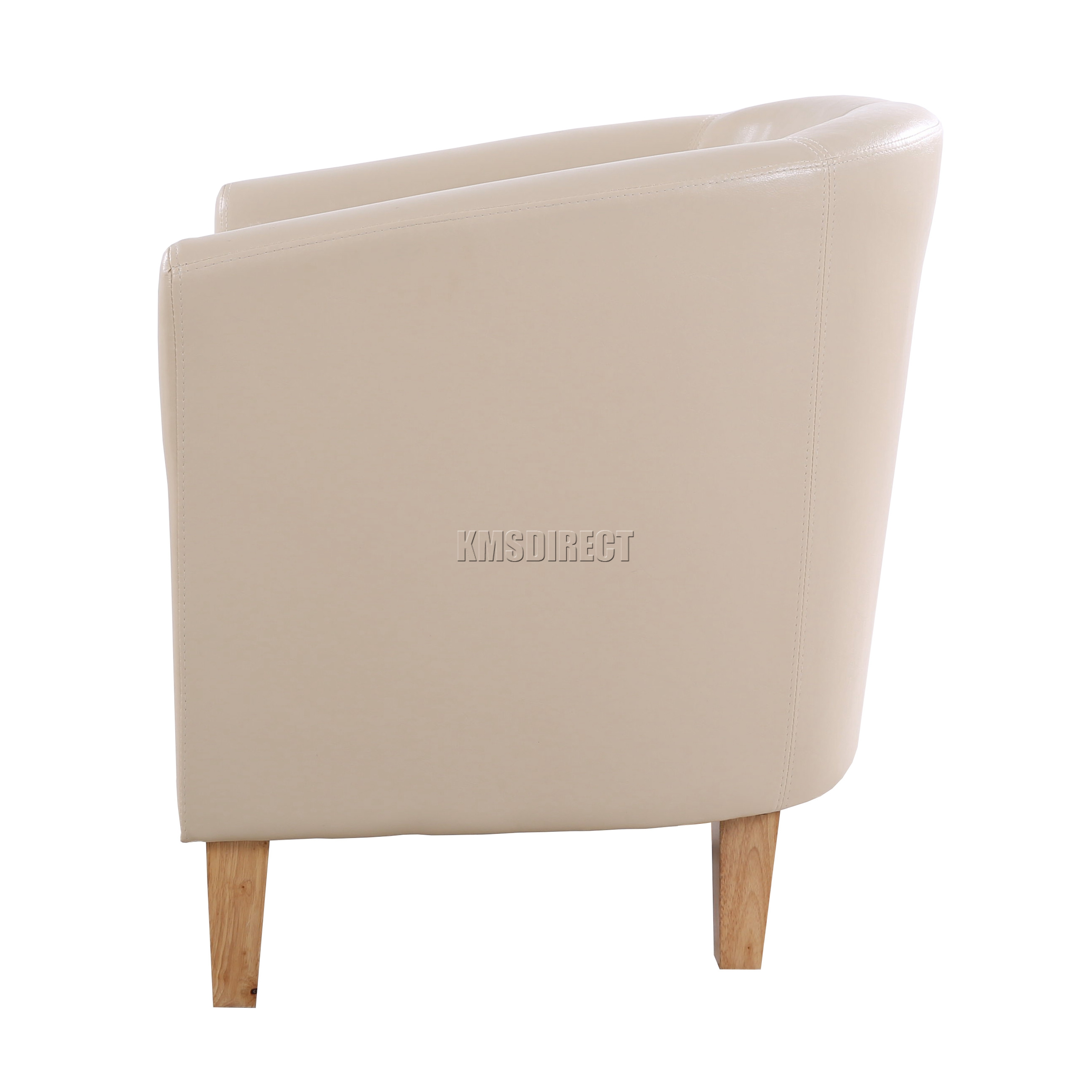 tub chair covers ebay ashley furniture chairs foxhunter ivory faux leather armchair dining