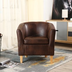 Tub Chair Covers Ebay Bungee Container Store Foxhunter Faux Leather Pu Armchair Dining Room