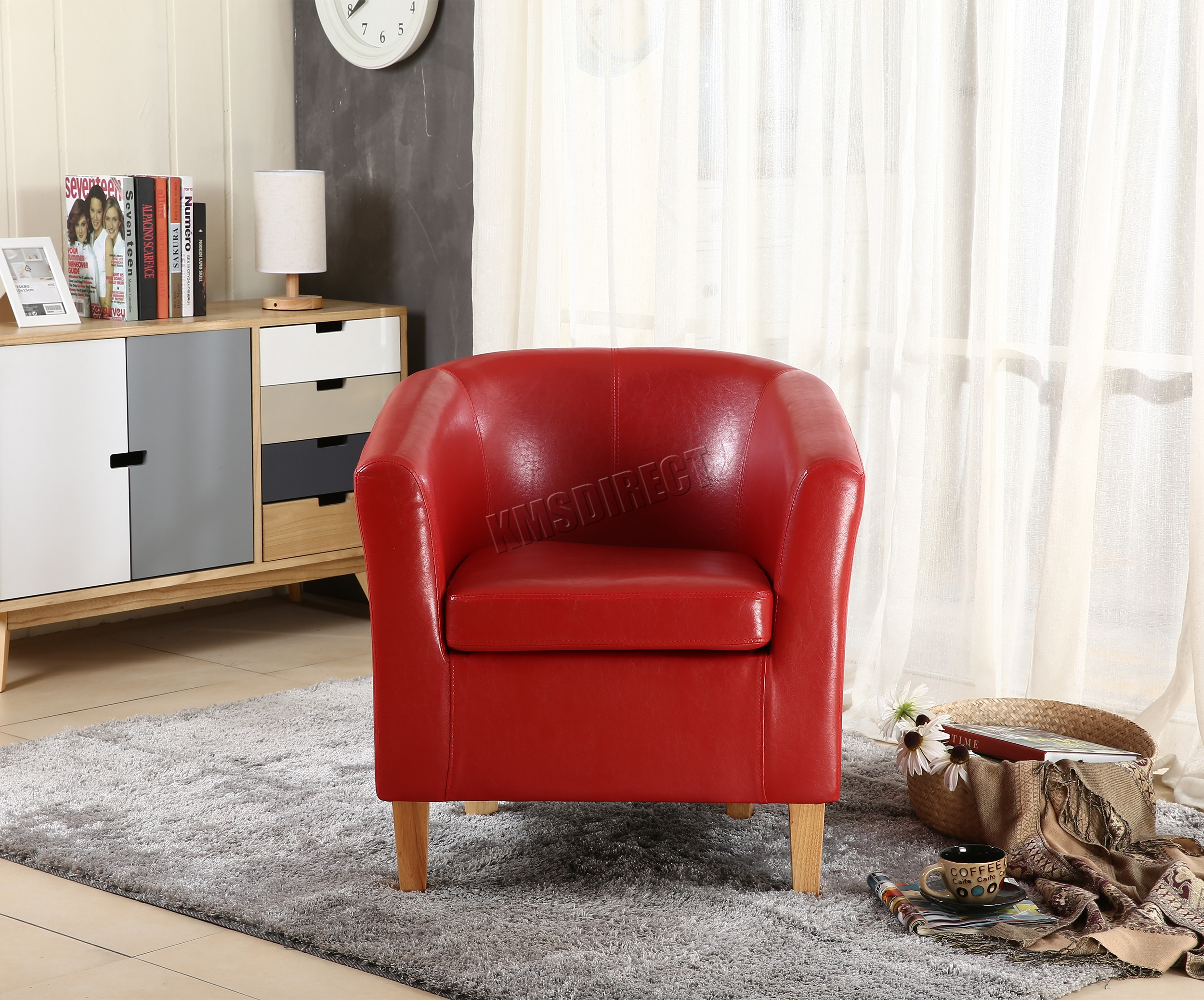 tub chair covers ebay tall tables and chairs foxhunter faux leather pu armchair dining room
