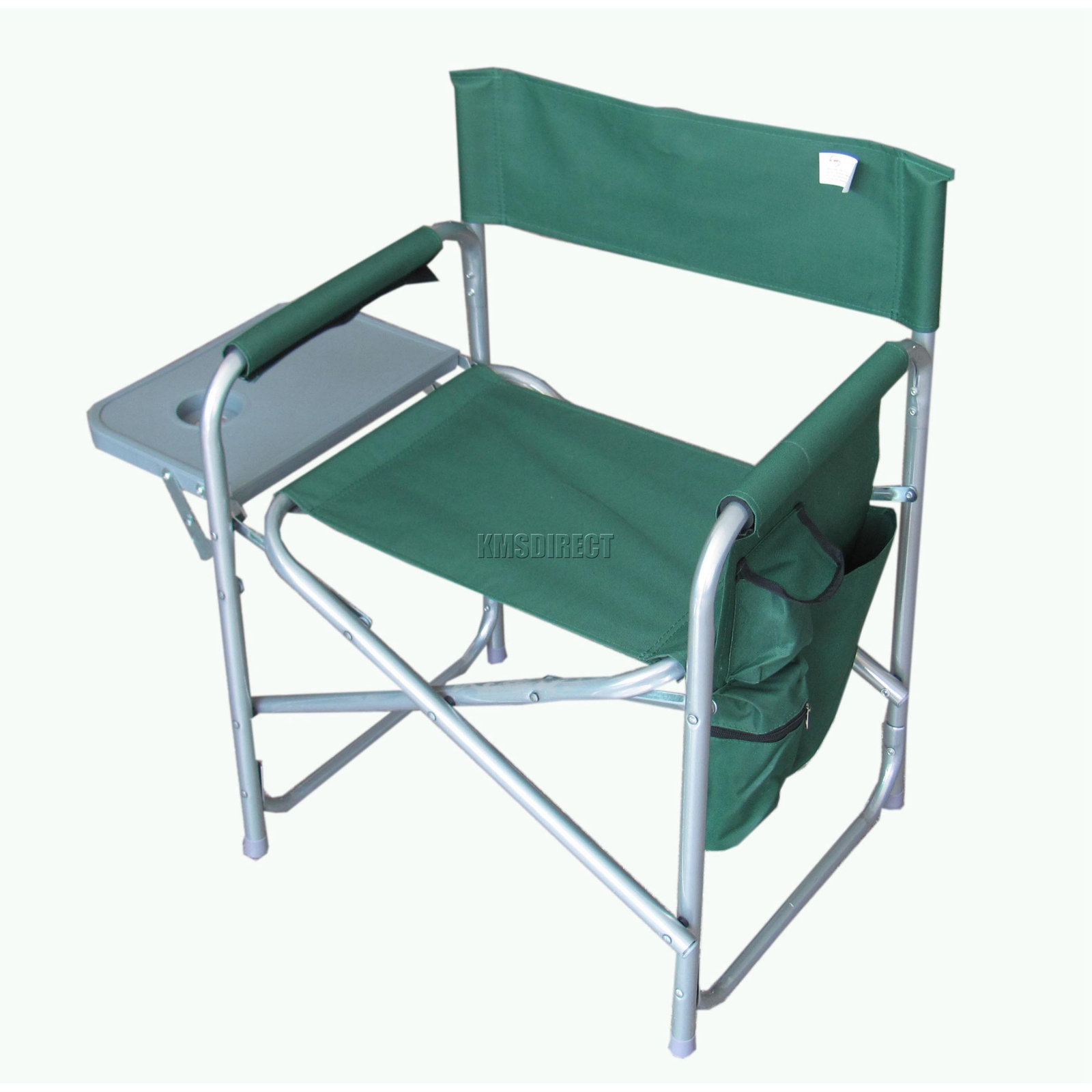 folding chair with side table wooden leather desk portable fishing camping outdoor garden seat
