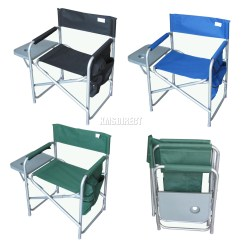 Folding Chair With Side Table Gym Workout 7 Dvd Set Portable Fishing Camping Outdoor Bench