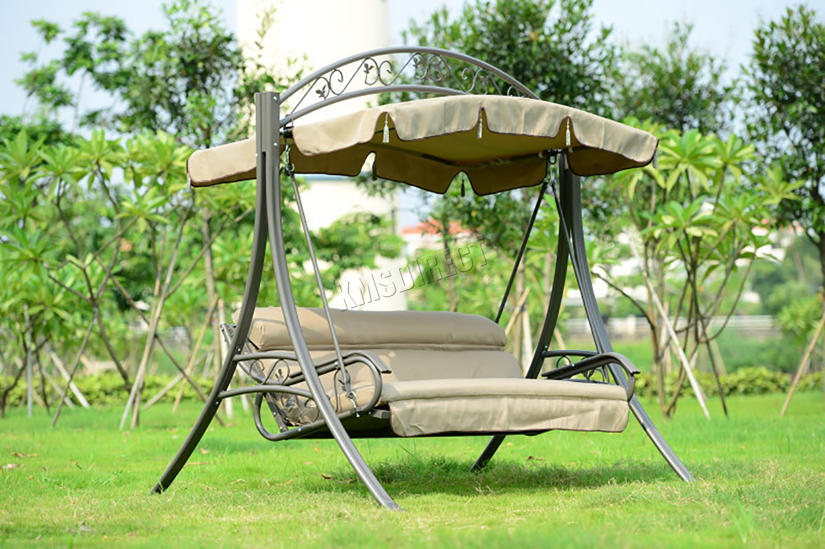 WestWood Garden Metal Swing Hammock 3 Seater Chair Bench