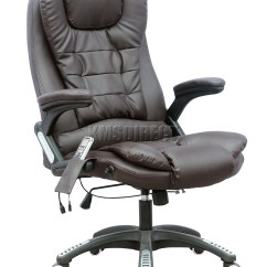Brown Leather Computer Chair Chairs With Drink Holders Foxhunter 8025 6 Point Massage Office